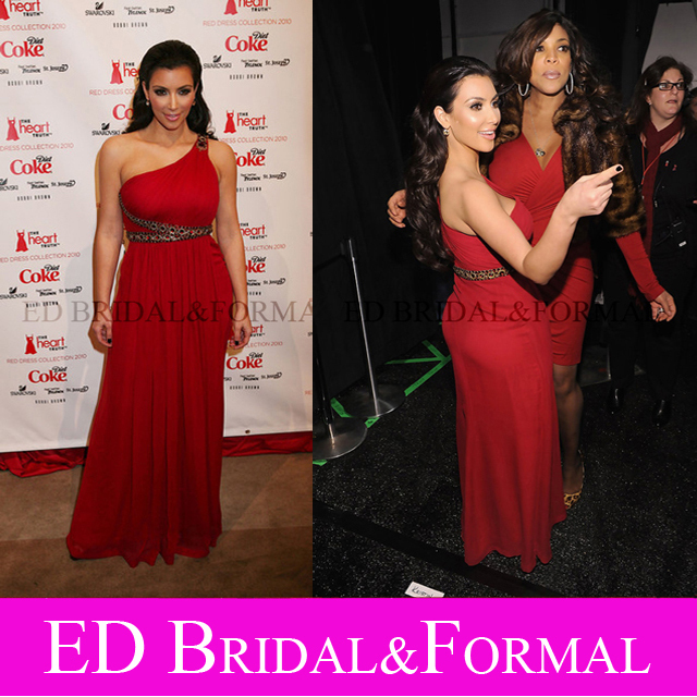 Celebrity font b Dress b font Kim Kardashian Beaded Long Red One Shoulder Prom Gown font