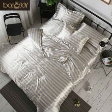 Bonenjoy Grey Color Satin Silk Beddings och Säng Sets Stripes and Plaid Duvet Omslag Queen King Size Sänglinne Kina Lakan