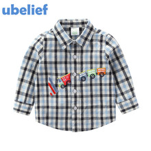 UBELIEF Child Boys England Style Kids Warm Clothes Toddler Plaid Shirt Kids Plaids Shirts toddler Baby Boys Cars Winter Shirt