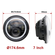 "COLIGHT 2PCS/set 12V 24V 105W H4 7"" Round Led Headlight Waterproof with White Lamp for Russian Cars uaz gaz niva Minibus Trucks"
