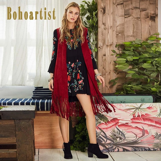 Borgoña chaleco largo mujer chaqueta sin mangas chaleco Boho primavera  otoño 2018 moda elegante Casual bohemio b0b8a2da401c