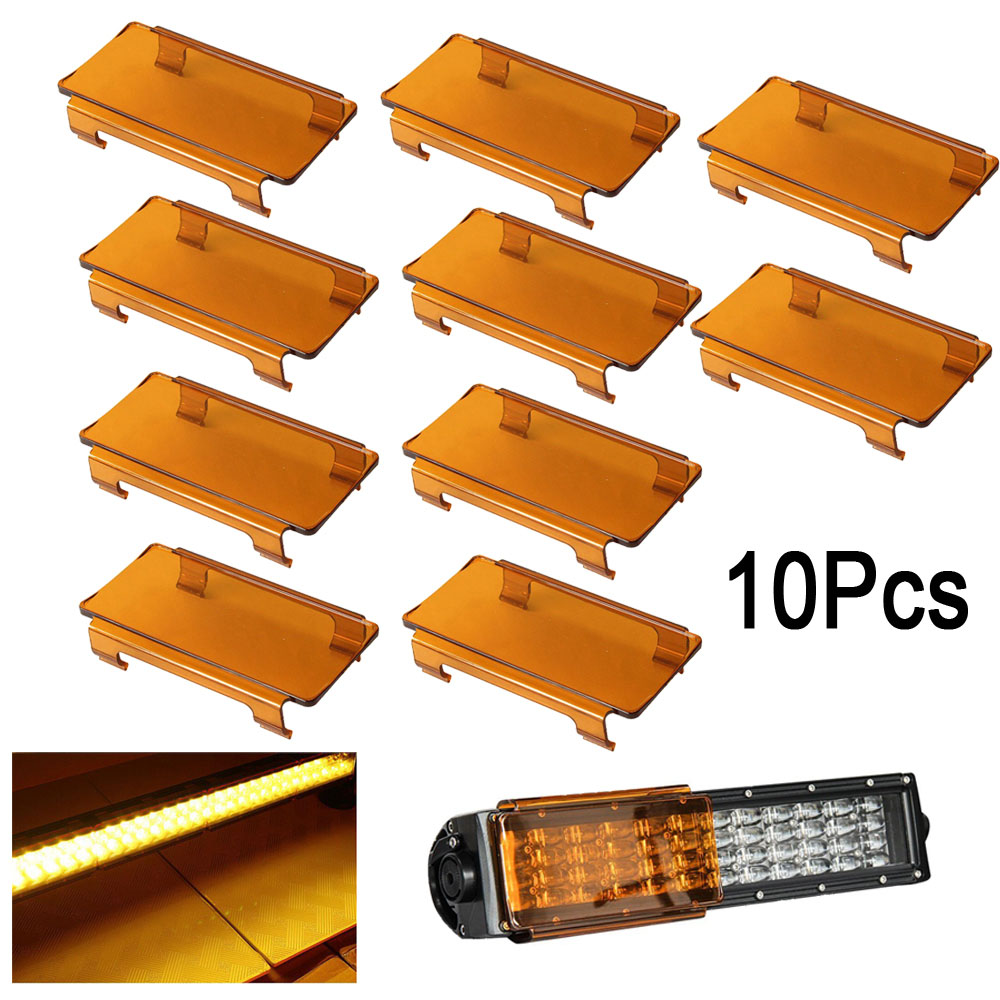 10pcs 6 inch Snap on Dust Proof Lens cover Black Amber Clear Red Blue Green for Led Light Bar 7 12 24 30 36 42 50 52 54