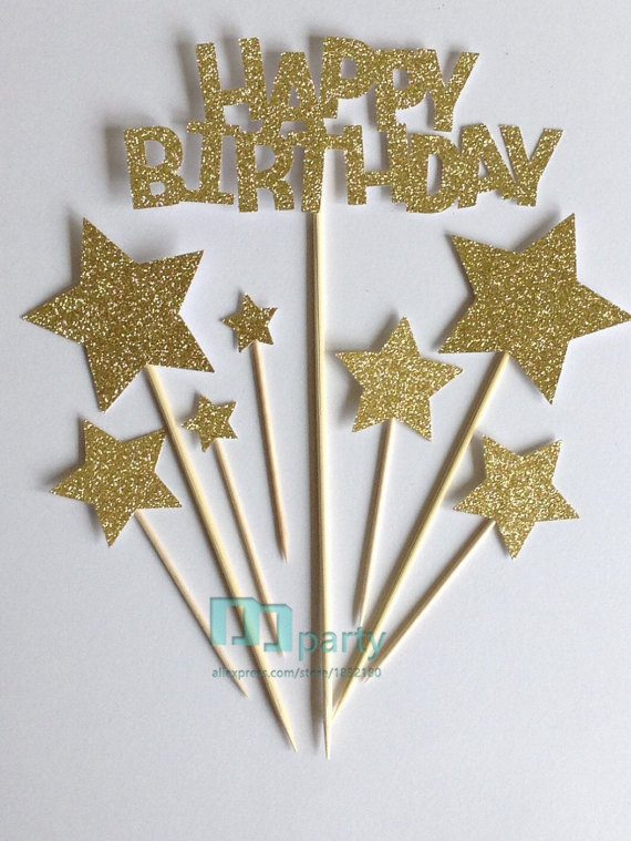 Gold Happy Birthday Cake Toppers Glitter Star Assortment Pack In Decorating Supplies From Home