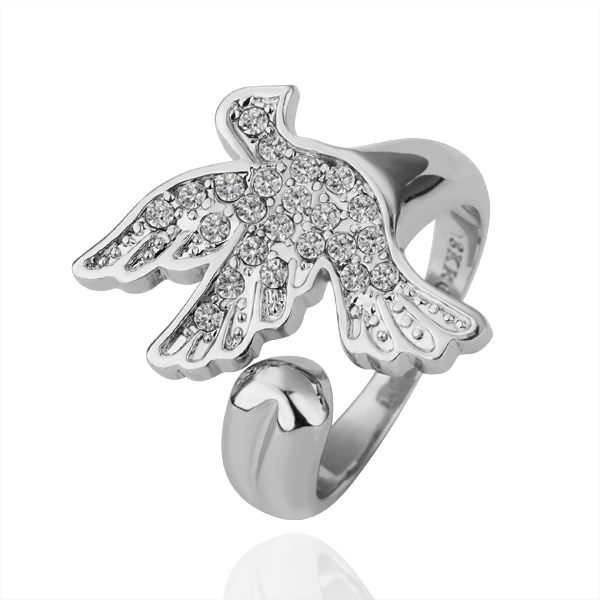 18K Gold Plated Flying Bird Ring Austrian Crystal Rhinestone Bridal Jewelry Wedding Platinum Plating Nickel Free