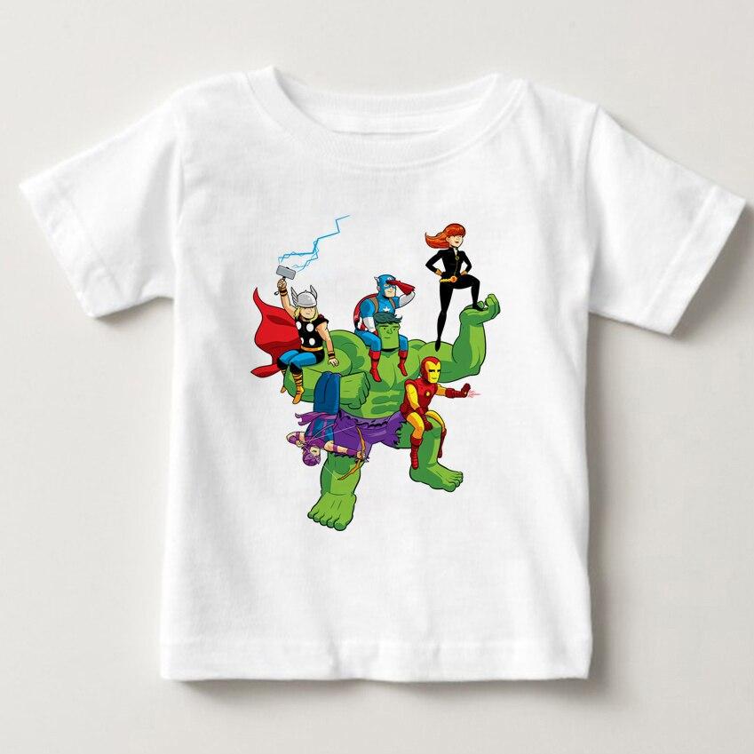 Captain America Hulk Pattern Short Sleeve T-shirt Kids Clothes Clothing MJ Avengers Children Kids' Shirts Boys Clothes