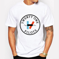 Off White Graphic 21 Pilots Twenty One Pilots Screen Print T Shirt Man Rock Roll Hip