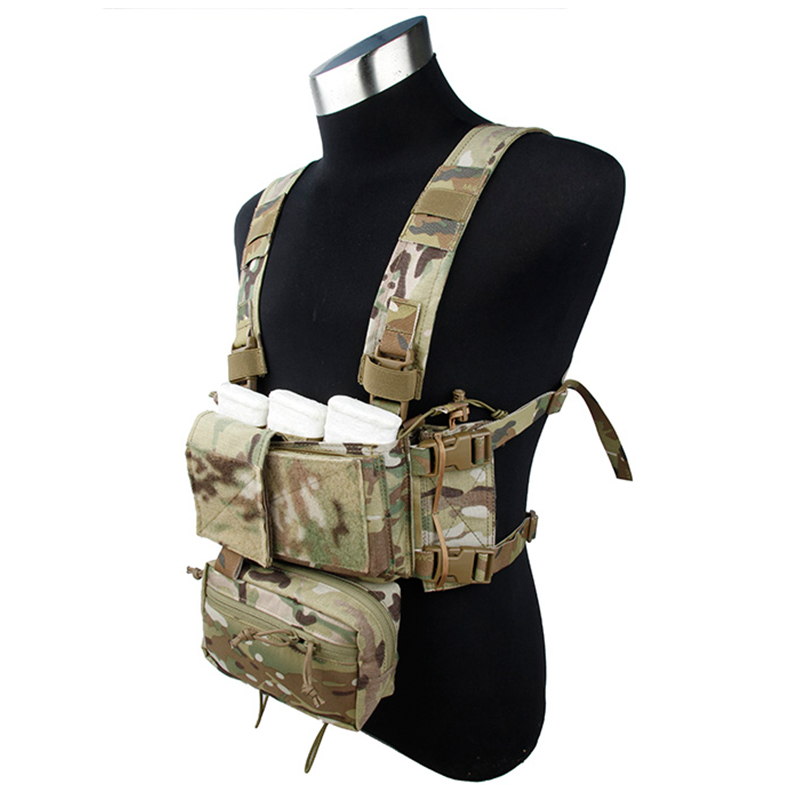 TMC Tactical Modular Chest Rig Micro Fight Chassis w 5 56 Mag Pouch Hunting Camo Airsoft