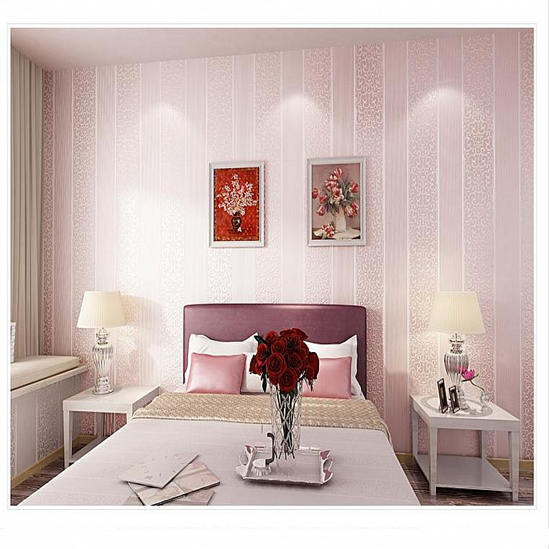 2017 Photo Wallpaper Paysota 3d Vertical Stripes Thickening Non woven Wallpaper Sweet Bedroom Living Room Tv Setting Wall Paper in Wallpapers from Home Improvement