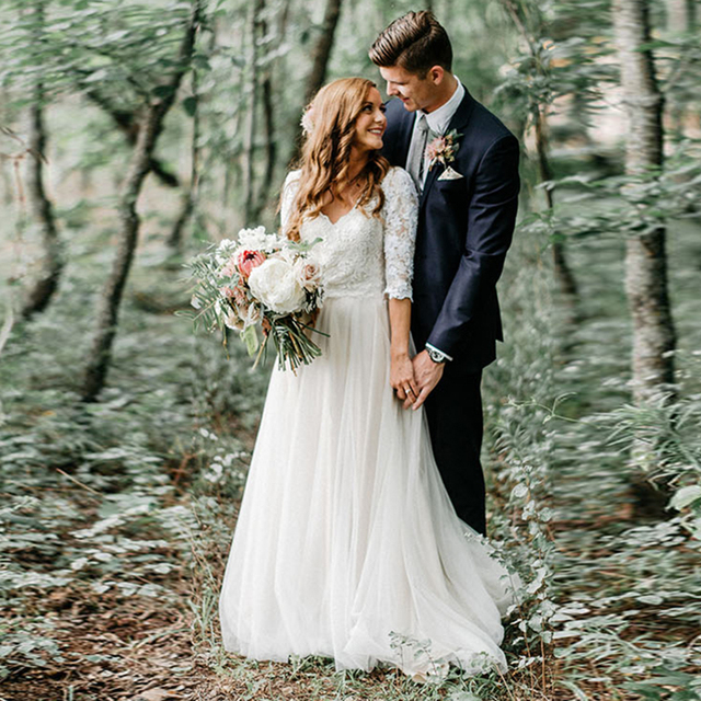 lorie boho vestido de novia de encaje v cuello media manga gasa