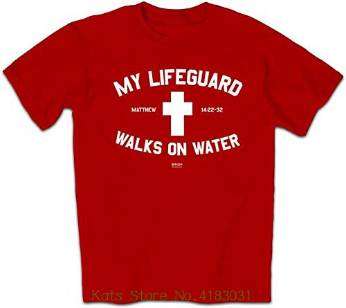 c26deab5422 My Lifeguard Walks On Water Shirt - Red - Christian Fashion Gifts Top Tees  Custom Any Logo Size
