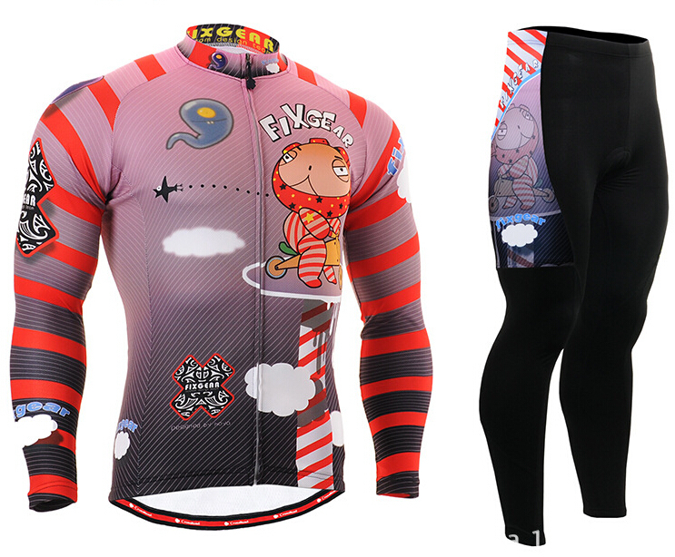 2017 Mens Pink Cycling Jerseys Sets Bike Bicycle Clothings Full Zipper Long Sleeve Sports Wear Cartoon Printing Riding Clothes actionclub mens winter cycling jerseys sets straps cycling suit long sleeve bicycle bike clothing male breathable running set