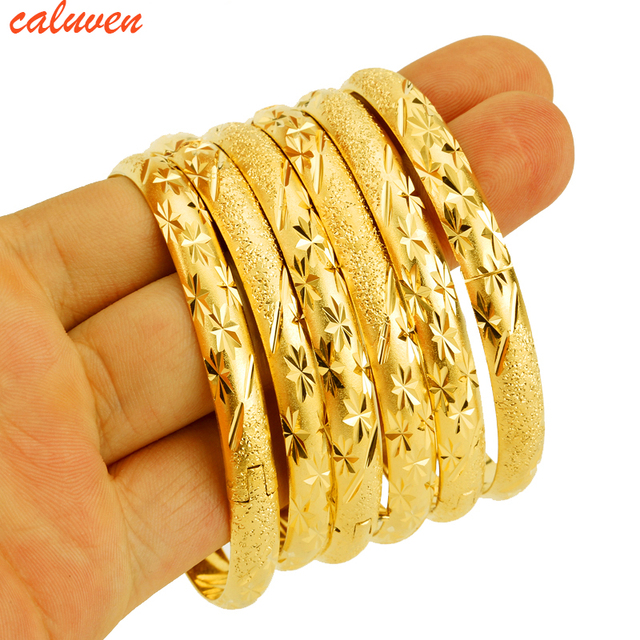 8mm 6pcs Lot Dubai Gold Bangle Jewelry For Women Men Color Ethiopian African
