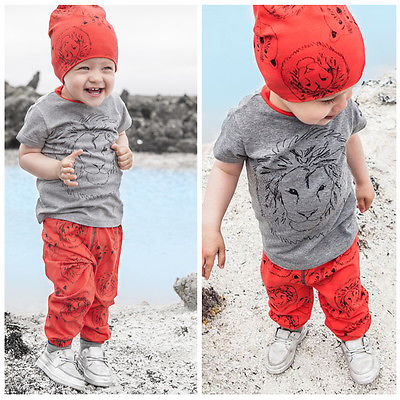 2-7Y Hot New 2016 summer girls boys Lion Print children clothing set baby clothes short-sleeve T-shirt + pants kids sport suit