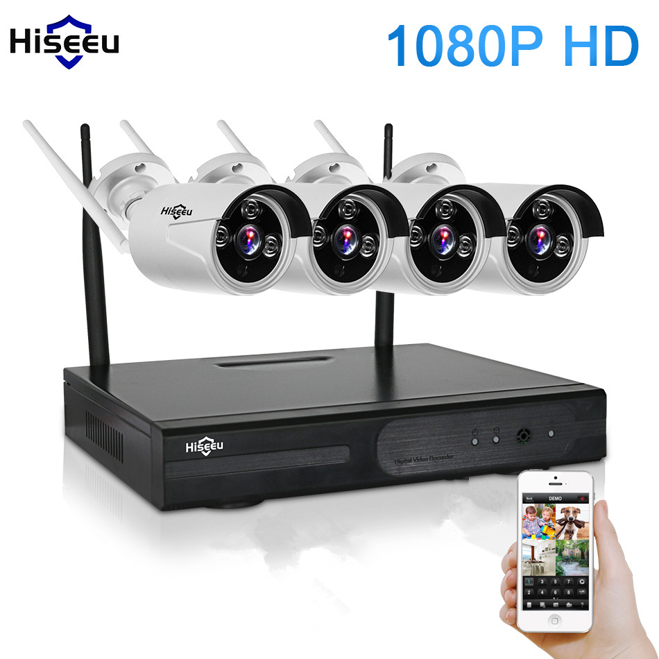 1080P 4CH Wireless NVR CCTV System wifi 2.0MP IR Outdoor Bullet P2P IP Camera Waterproof Security Video Surveillance Kit 55 5 8g 1 0 mp 1 4 color cmos 4ch 720p wifi 1 nvr with 4 pcs waterproof ir bullet wireless ip camera wireless cctv system kit