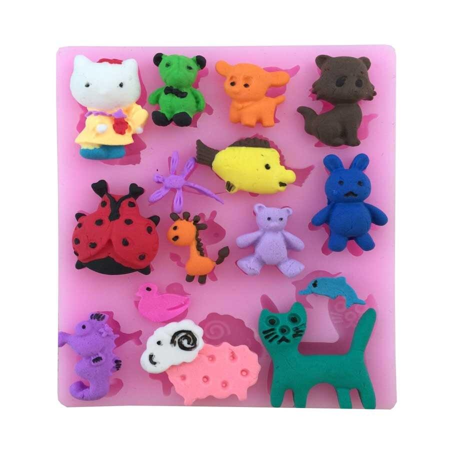 Muchos Tipos De Animales Forma del molde del jabón fondant cake moldes de jabón