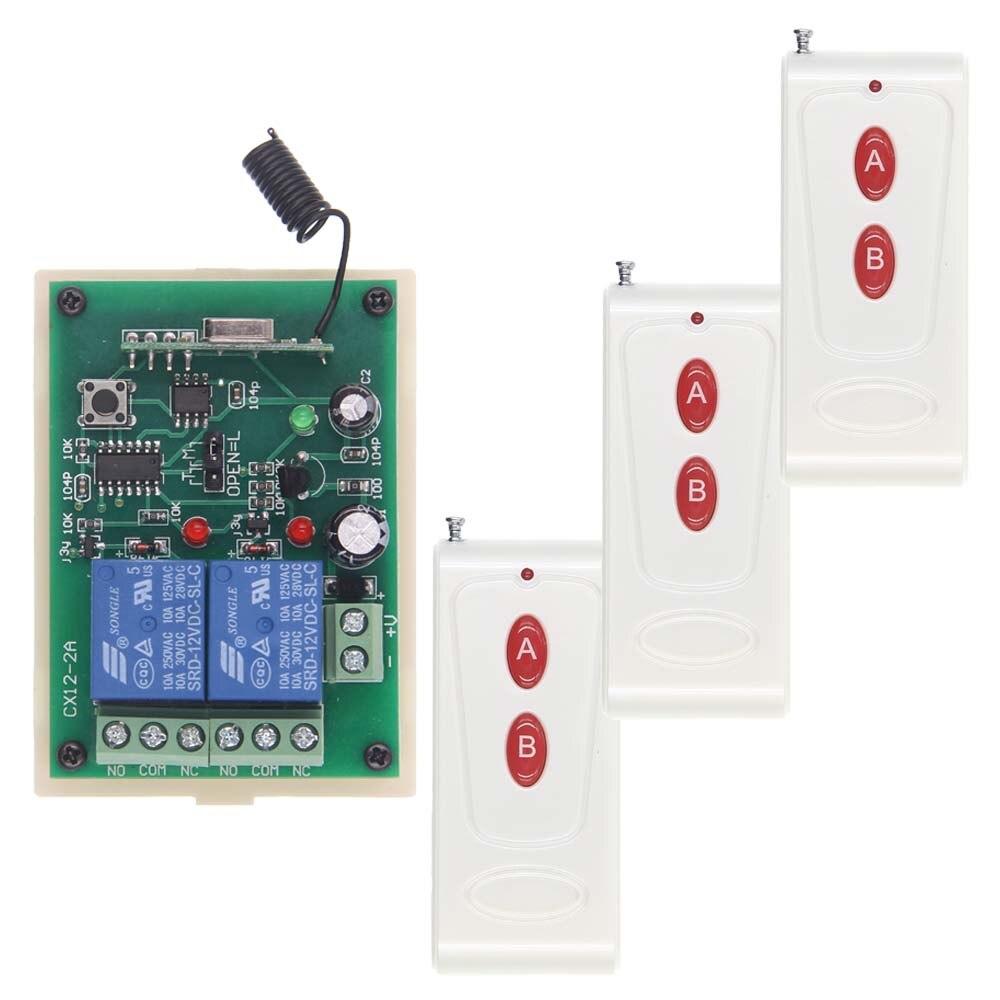 цена на Long Distance 1000M DC 12V 24V 2 CH 2CH RF Wireless Remote Control Switch System,Transmitter + Receiver,315/433 MHz