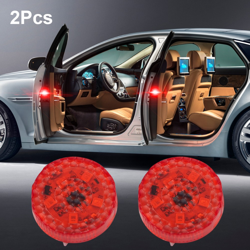 2pcs Red Car Warning Light Safety Strobe Light Traffic Signal Light For BMW Mercedes AMG VW Citroen Audi Ford Volvo Car-styling