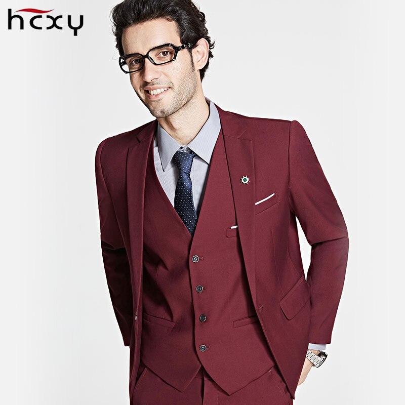 HCXY2017 Brand Mens Suits Wedding Groom Plus Size 6XL 3 Pieces(Jacket+Vest+Pant) Slim Fit Casual Suit Male Overalls