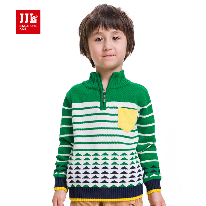 boys sweaters turtleneck zipper design knitted sweater 100% cotton  comfortable kids clothes casual style for