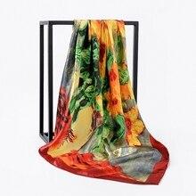 LARRIVED Fashion Scarves For Women Shawl Print Satin Scarf Female 90cmx90cm Luxury Square Hijab Shawls Head Scarfs for Ladies