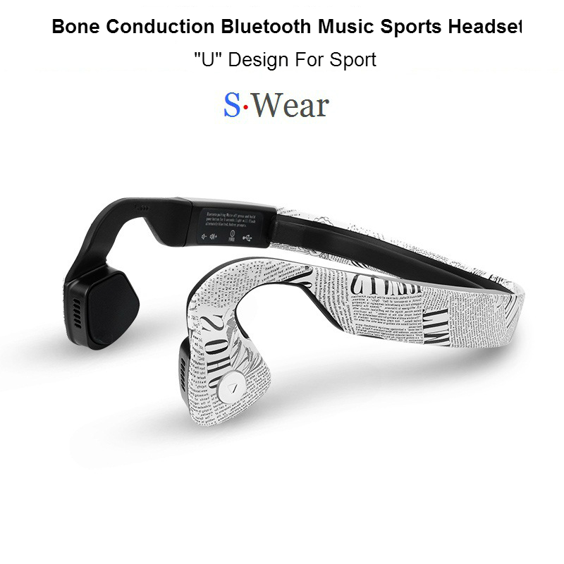 NEW S.Wear Wireless Bluetooth 4.0 Headset Stereo Neck-strap Headphones Bone Conduction Hands-free Sports Driving Smart Earphones