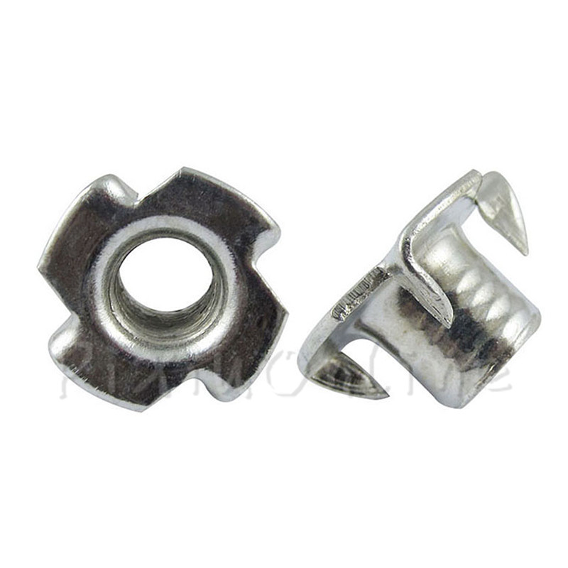 50Pcs ST148b M3 M4 M5 Four Claw Nuts Galvanization T Pronged Tee Blind Female Nuts Home improvement tools