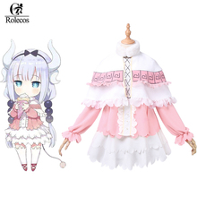 Rolecos 2017 Japanese New Anime Kobayashi san Chi no Maid Dragon Cosplay Costume Kamui Kanna Pink