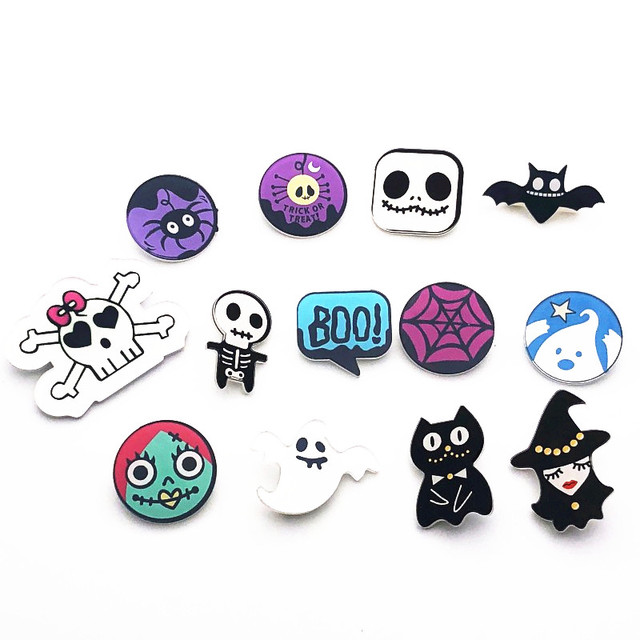 1979af04f 1Pcs Cartoon Halloween Gift Witch Jack Ghost Brooch Backpack bags Clothing  Icons Acrylic Badges Brooches Pins party gift