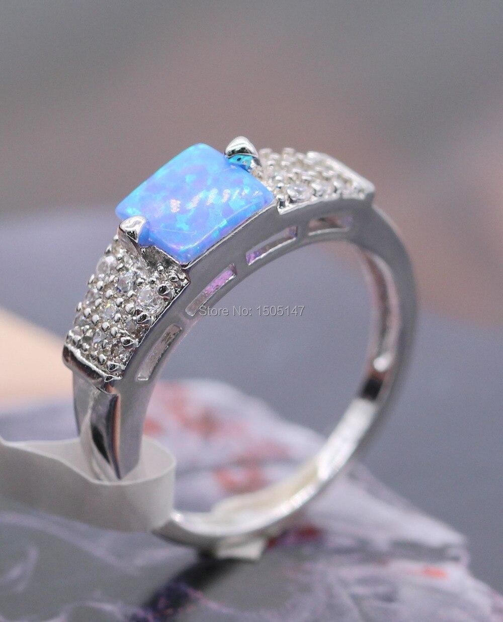 Noble Elegant Wholesale Women Jewelry bule/white/black Fire Opal Zircon Charm Stamp Ring size 6/7/8/9