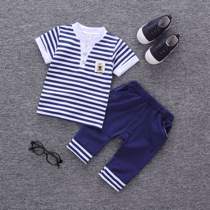 Boys&girls Summer Casual Clothes Set Children Short Sleeve Striped  T-shirt + Short Pants Sport Suits 2017Clothing Sets for Kids