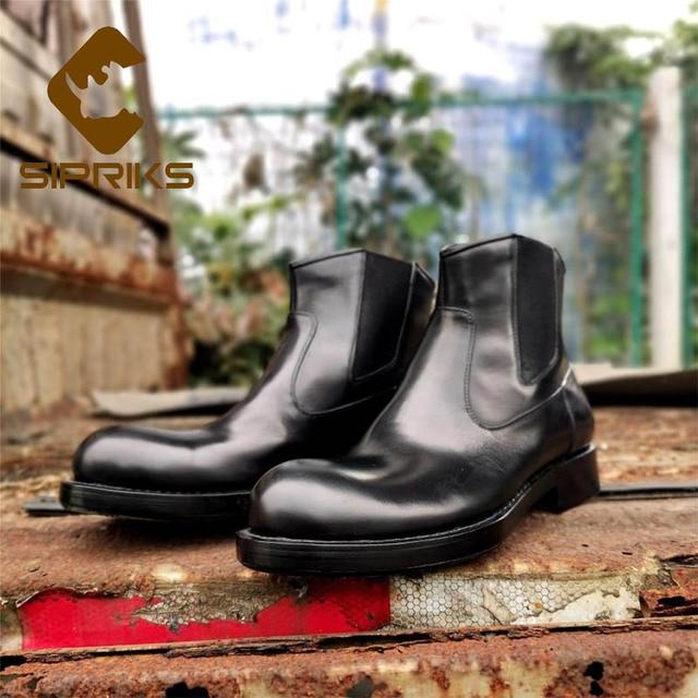 Sipriks Lüks Erkek Chelsea Çizmeler Ithal Fransa Buzağı Deri Kayma Kovboy Çizmeler Büyük Yuvarlak Ayak Goodyear Welted Ayakkabı Boyutu 45