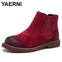 YAERNI Veeg Kleur Mode vrouwen Laarzen Herfst/Winter Nieuwe Patroon Retro Korte Laarzen Eerste Laag Varkensleer Platte Femmes schoenen
