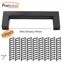 Probrico 100 PCS 12mm 12mm Black Square Bar Handle Stainless Steel CC 96mm Cabinet Door Knob