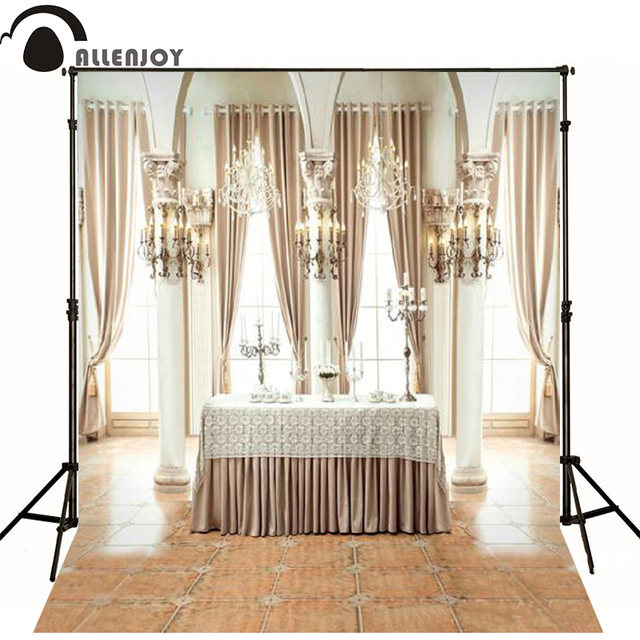 200cm *300cm(6.5*10ft) European Wedding Photography Background Table Candle  Chandelier Curtain