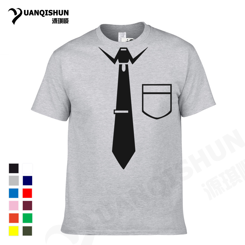 YUANQISHUN Casual Tie Pocket Print Design   T     Shirt   Simple Party Short Sleeves Cotton Tee, Funny Tie Silhouette Cotton Tshirt