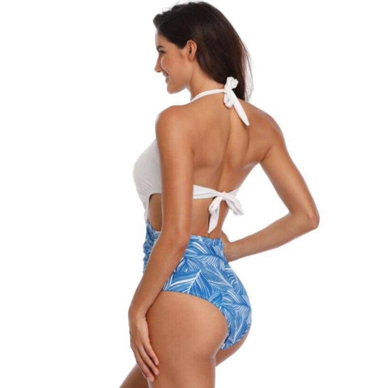 Sexy slim bikini print leaf high elastic one-piece swimsuit with chest pad no steel ring women's set underwear  free shipping