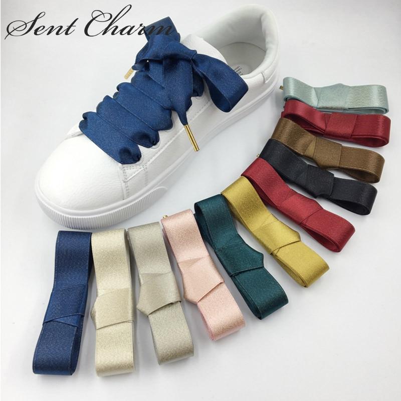 SENTCHARM Gold Silk Satin Luxury Womens Shoelaces Fashionable Bowknot Shoestrings Flat Shoes Cord 10 Colors