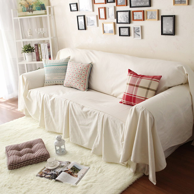 Off white sofa cover set rustic beige sofa slipcover - Plaid para sofa ...