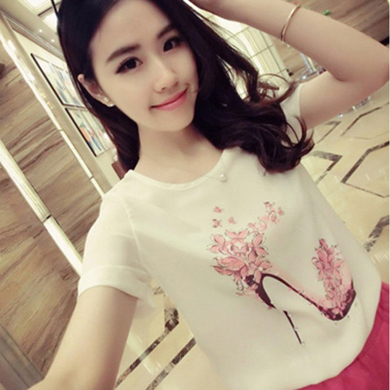 b266f0b4e133 Detail Feedback Questions about Women Ladies Flower Woman High Heels  Printing T shirt Summer Casual Round Neck Short Sleeve Tees Tops FS0580 on  ...