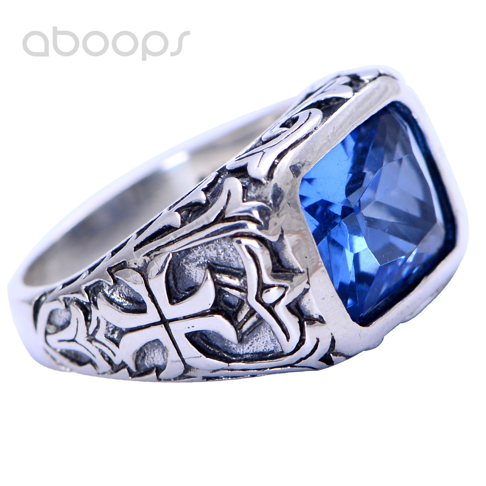 все цены на Vintage 925 Sterling Silver Square Blue Crystal Ring Jewelry Engraved Cross for Men Boys Size 7.5 8 9 10 11 11.5 Free Shipping