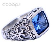 Vintage 925 Sterling Silver Square Blue Crystal Ring Jewelry Engraved Cross for Men Boys Size 7.5 8 9 10 11 11.5 Free Shipping