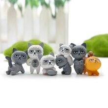 6 unids/set 3-4 cm adorable gatos infelices figura de acción juguete niños juguete habitación de bebé decoración niños regalos Micro muñecas de paisaje