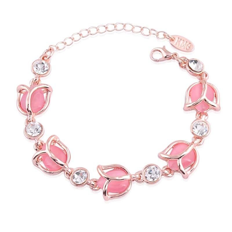 Romantic Female font b Bracelet b font Jewelry Fashion Rose Flower Shaped High Grade Opals Crystal