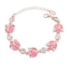 Romantic Female Bracelet Jewelry Fashion Rose Flower Shaped High Grade Opals Crystal Charm Bracelets For Woman/Girls Best Gifts
