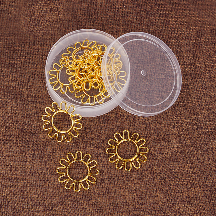 Golden Sunflower Shaped Paper Clips Decorative Gold Paper Clips Gold Decor For Office Kawaii Stationery Office Gold Stationery