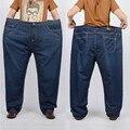 S-12XL размер 30-52 Жира большой плюс размер джинсы мужские брюки мужчины высокой талии свободные конические длинные брюки MP1655
