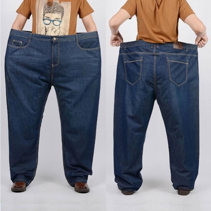 S-12XL size 30-52 Fat large plus size denim jeans male trousers men high waist loose taper long pants MP1655
