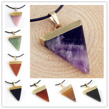 Kraft-beads Light Yellow Gold Color Amethysts Triangle Shape Rose Pink Quartz Pendant Tiger Eye Stone Jewelry