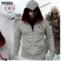 2016 Winter Famous Brand High Fashion Gray Assassins Creed Hoodie Sweatshirt Sudaderas Hombre Cosplay Costumes Zip Hoodies Men