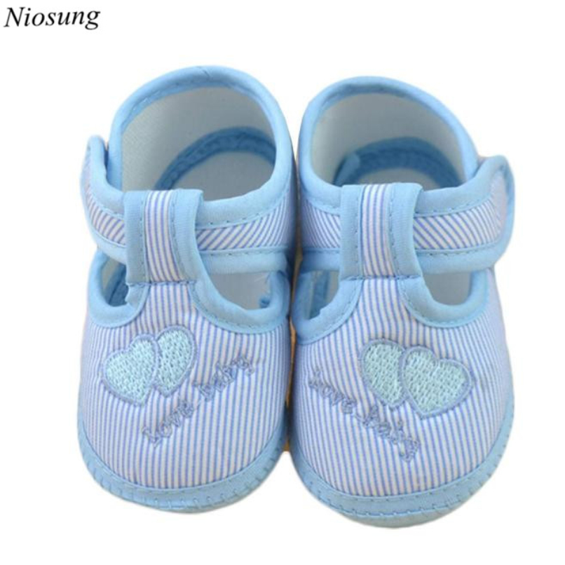 Niosung Newborn Baby Girl Boy Shoes Soft Sole Crib Toddler Shoes First Walker Canvas Infant Princess Shoes Sneaker 0~10M v